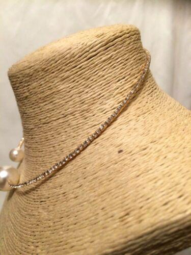 Declaración de mujer de oro con Cuentas Perlas de Imitación Cristal Gargantilla Collar /& Pulsera