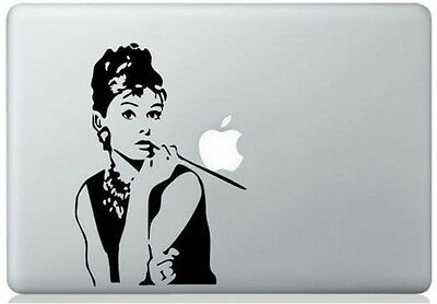 Audrey Hepburn vinyl sticker for Mac Book/Air/Retina laptops. Black decal