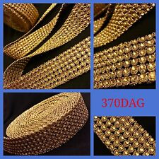 9 Meters Ethnic Rose Gold Copper Crystal Indian Sari Net Border Trim Lace Sewing