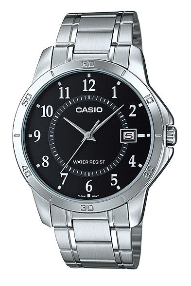 Casio MTP-V004D-1B Men's Standard Stainless Steel Numbers Black Dial Date Watch