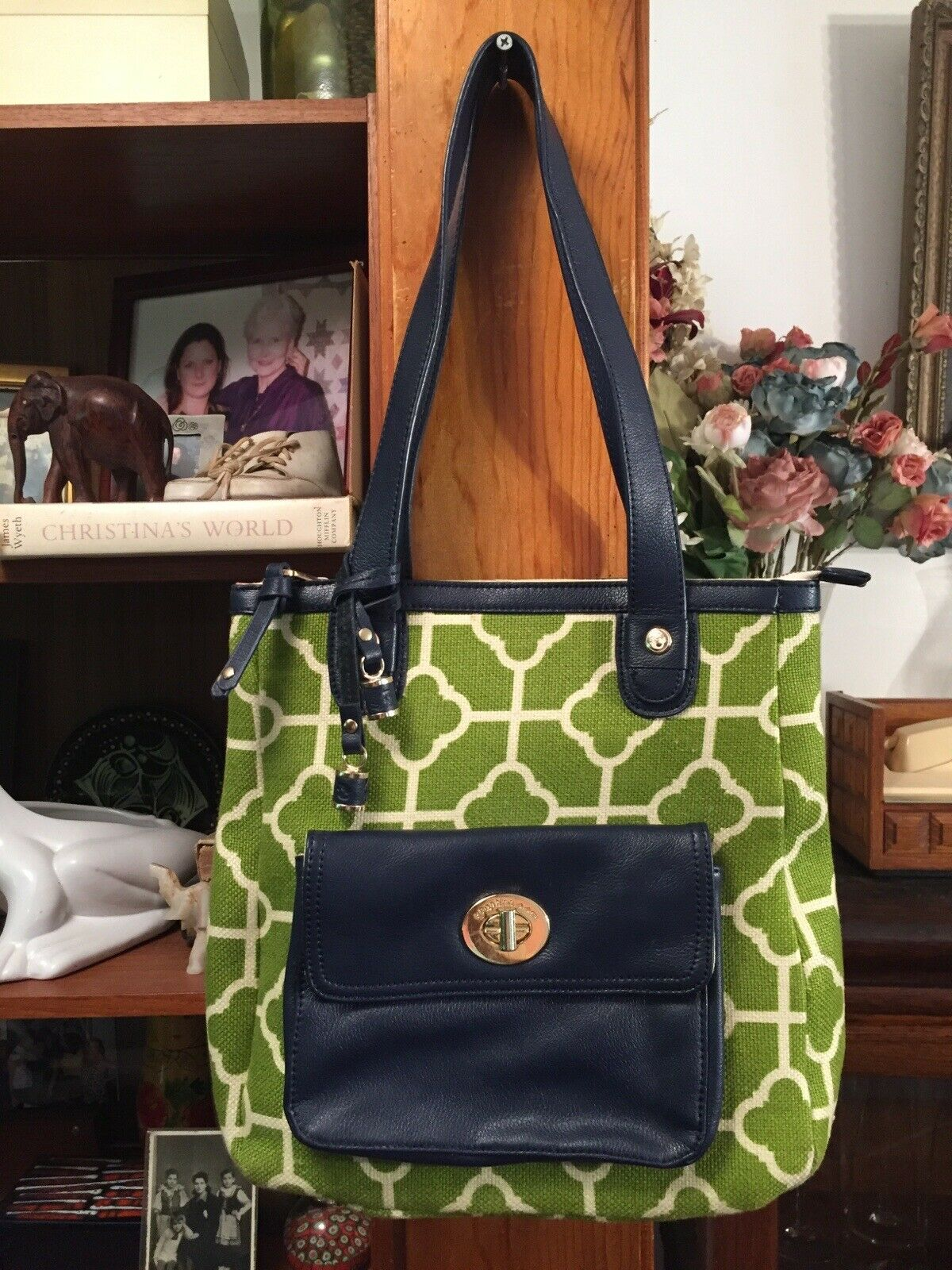 Spartina 449-Dafuskie Island Purse Handbag Lime green Navy blue Natural linen
