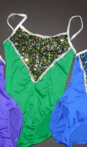 NWT Sequin Front Leotard Silver Straps 3 colors Girls sizes camisole styling