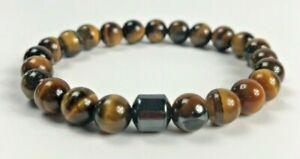 Natural-Tiger-039-s-Eye-Gemstone-8mm-Bead-Stretch-Bracelet-with-Magnetic-Hematite