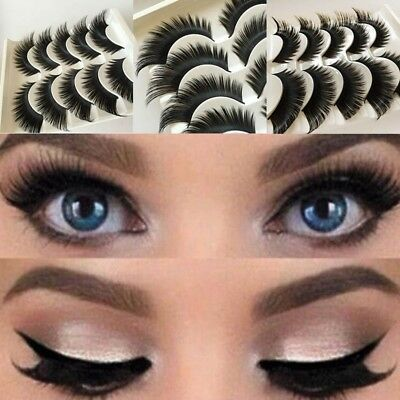 3e0dcc41b03 Details about 5 Pairs Natural False Eyelashes Extra Long Thick Handmade Fake  Eye Lashes Makeup