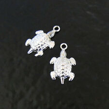 2 Sterling Silver Turtle Charms, Made in USA