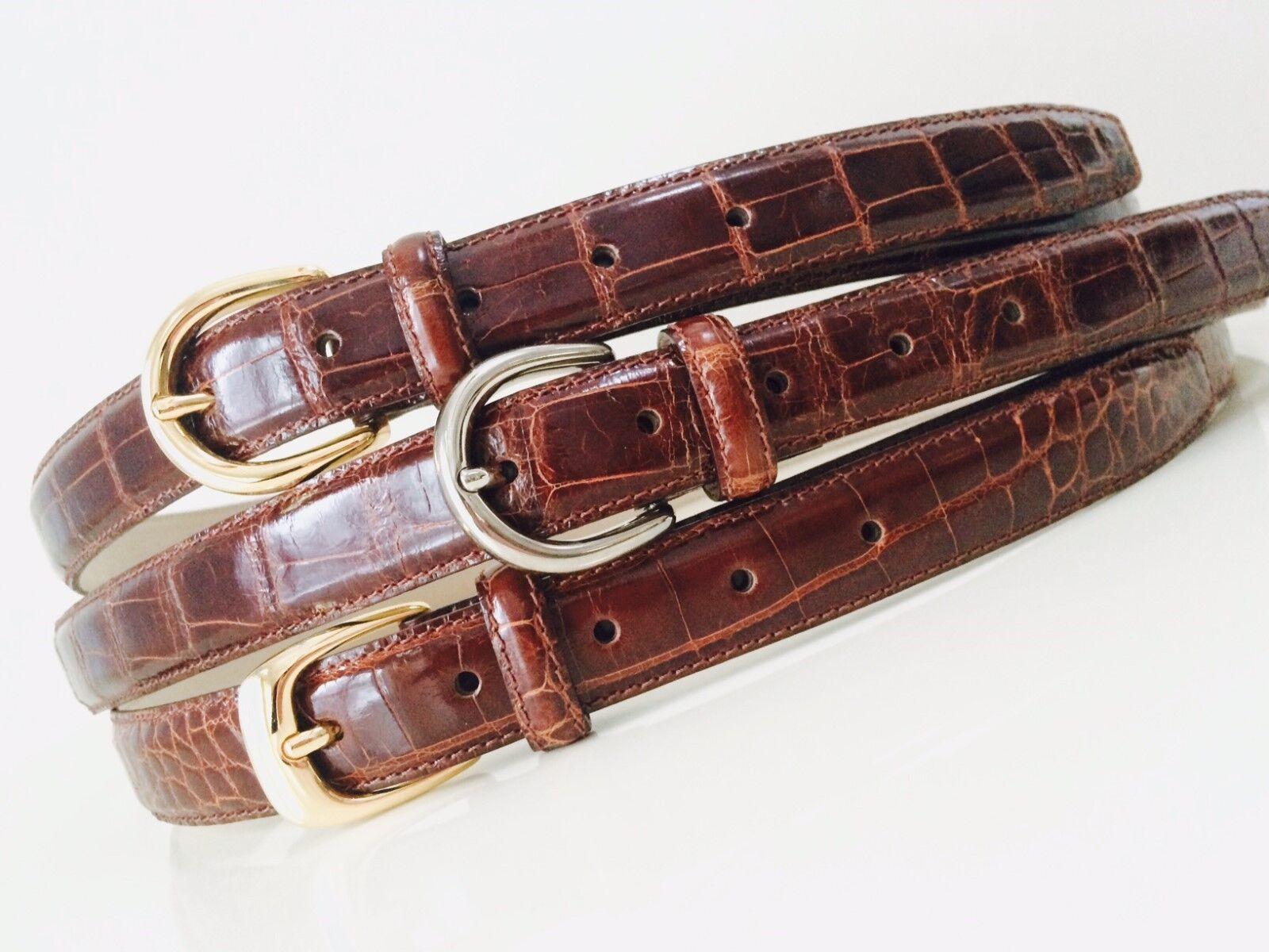 Nuevo cinturón de COCODRILO Cognac Marrón Real Gran menor precio para borrar los últimos 3