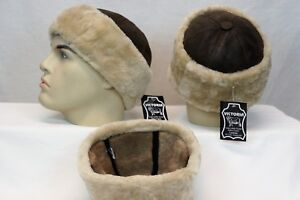 Black 100/% Sheepskin Shearling Leather Fur Beanie Round Bucket Ski Hat S-3XL