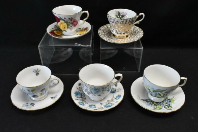 Queen Anne Lot of 5 Cups & Saucers Various Patterns Floral & Gold Filigree