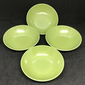 Vintage-Set-Of-4-Roymac-Melmac-Dessert-Bowls-By-Royalon-508-Avocado-Green