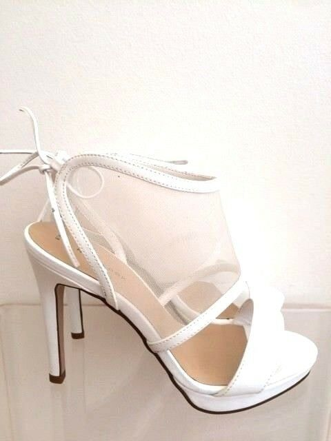 New New New Look White Mesh Stiletto Sandals Barely There Platform Pumps 6 39 US9 91fa93