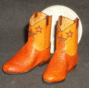 CUSTOM ROPER STYLE Western Cowboy Boots 1:12 Orange Open Star Doll ...