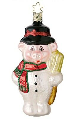 INGE GLAS CHRISTMAS PIG SWINE BLOWN GLASS CHRISTMAS TREE ORNAMENT