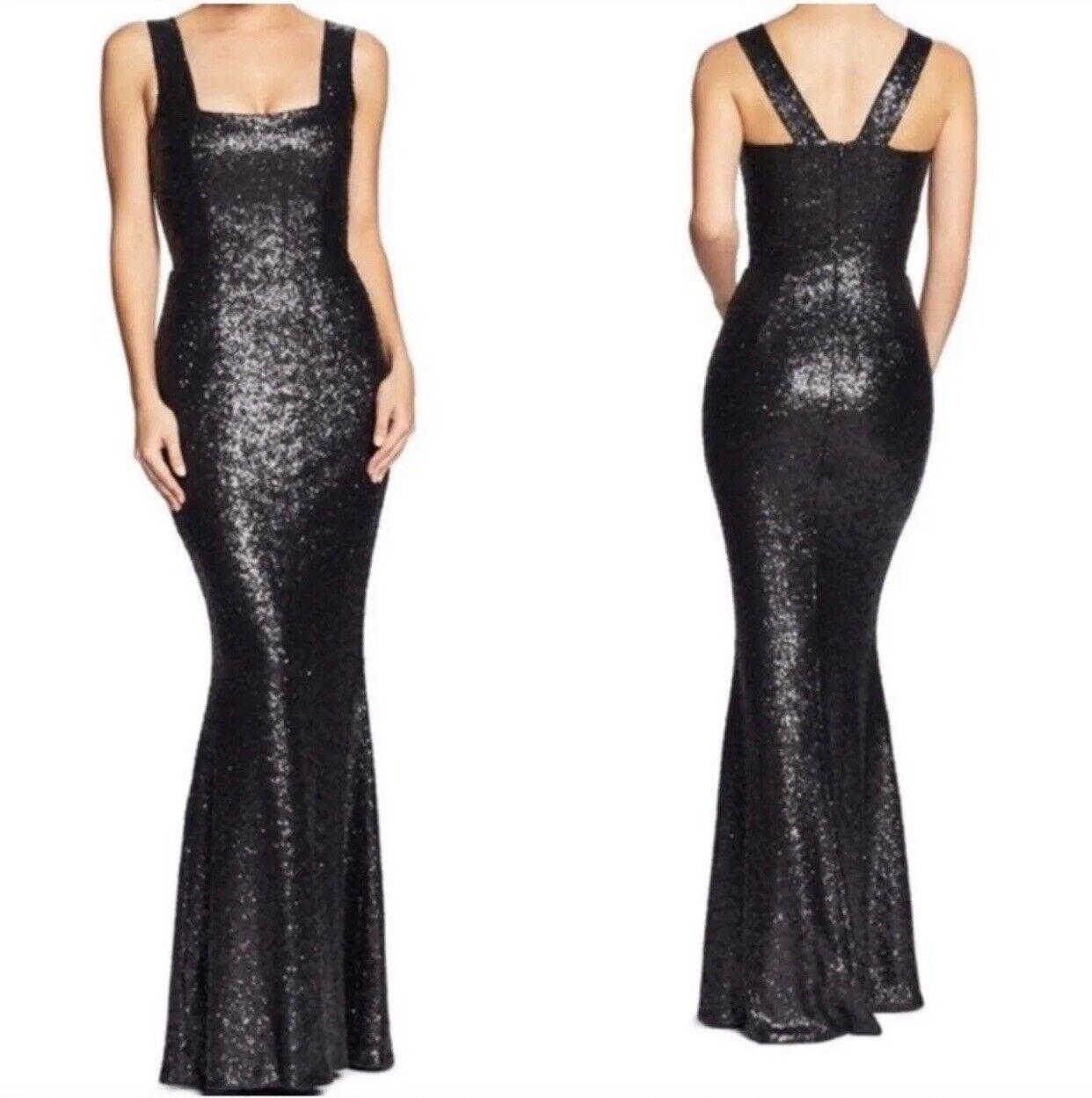 Dress The Population Raven Matte Black Sequins Formal Prom Evening Gown Dress M