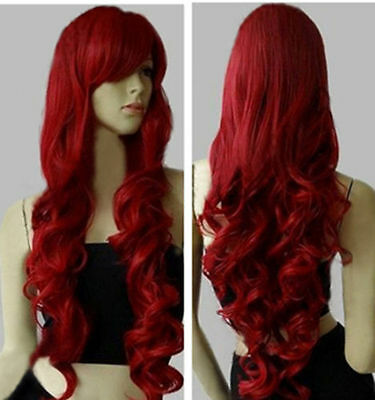 "New Fashion Women's Wig Long Curly Anime Cosplay Wigs 80cm/32"" Wine Red"