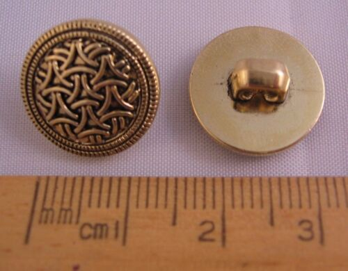 10 pack Gold metal look shank plastic Buttons 15mm knitting JBME225 Celtic ?