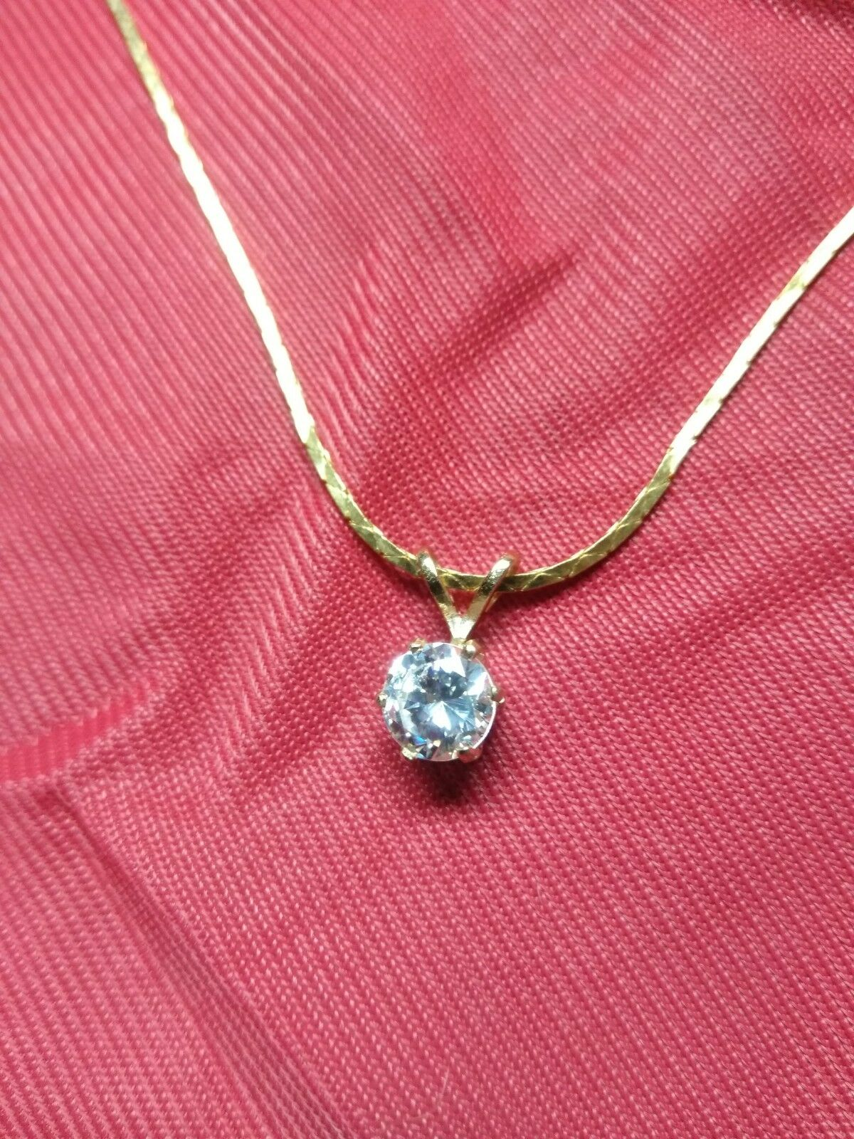 6 mm CZ Pendant 14 KY Solid gold with 16  14 KY. G.F. cobra chain  199.95
