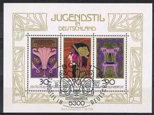 Duitsland-Bund-gestempeld-1977-used-block-14-Jugendstil