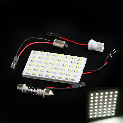 48LED Vehicle SMD Interior Light Panel Bulb Dome T10 BA9S Adapter White NEW