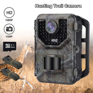 16MP-1080P-Hunting-Camera-Waterproof-16GB-Card-2PCS-Extra-Belt-Trail-Cameras