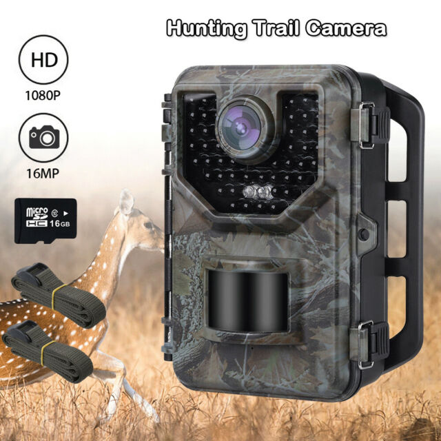 16MP 1080P Hunting Camera Waterproof + 16GB Card + 2PCS Extra Belt Trail Cameras
