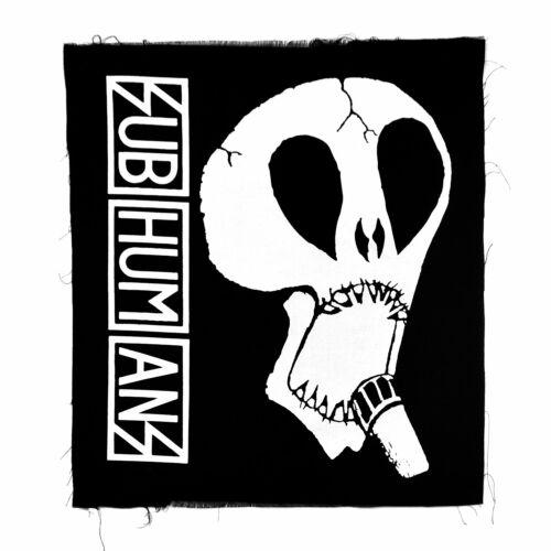 Black Subhumans Back Patch Large Skull /& Vertical Logo