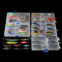 Assorted 60 Fly Fishing Hooks Tackle Spinners Spoon Crankbait Popper Lure Boxes