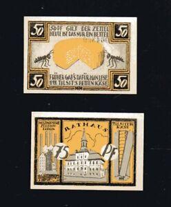 2x-Notgeld-TILSIT-heute-Sowetsk-Ostpreussen-1921-50-75-Pf-Rathaus-Kaese-top