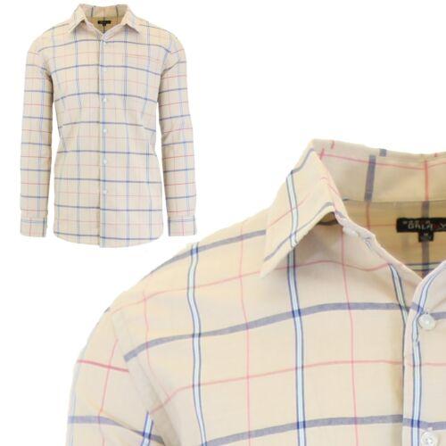 Homme L//S Robe De Coton Chemises Slim Fit Casual col /& poignets Fantaisie Motif NEUF