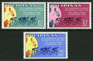 Philippines 939-941, Mi 790-792, MNH 2nd Asiatique Cyclisme Championnat, Globe ,