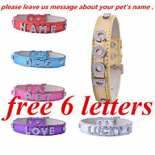 Diy Name Collar Customized Free 6 Letters Personalized Dog Collar Leather Small