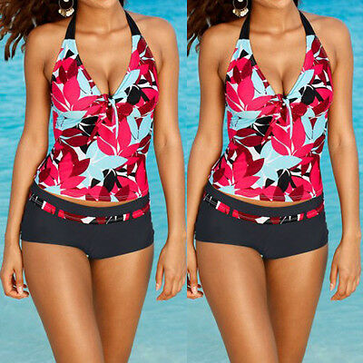 Plus Size Sexy Women Tankini Swimsuit Push Up Padded Bikini Swimwear Beachwear