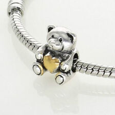 SILVER HEART OF GOLD TEDDY BEAR CHARM BEAD FOR CHARM BRACELET OR NECKLACE