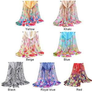 Ete-Femmes-Mode-Mousseline-de-soie-Fleur-Imprime-Echarpe-Chales-Foulards-SP