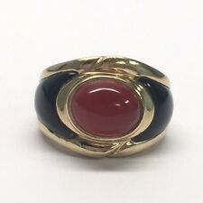 Kyle Kai Yin Lo Sterling Silver Gold Vermeil Red Carnelian & Onyx Ring Size 6