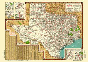 Texas Road Map 1940s Map Poster Vintage Austin Dallas Fort Worth Houston Alamo