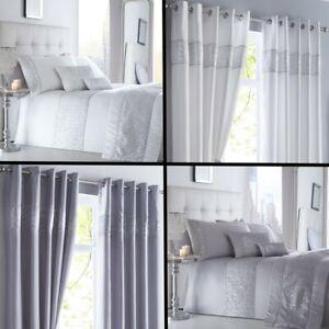 Shimmer-Sequin-Diamante-Duvet-Cover-Set-Eyelet-Curtains-Cushions-White-Silver