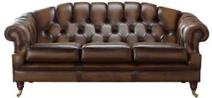Antique Autumn Tan Leather Sofa