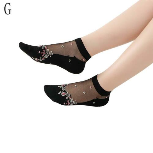 Frauen-transparente dünne Rosen-Blumen-Spitze-Socken-Kristallglas-Silk Sock X2M2