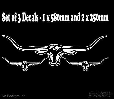 580mm Custom Bull Long Horn Decal Stickers Car Window Ute Moto Wall Graphics JDM