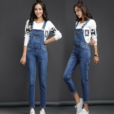 Retro Women/'s Washed Denim Casual Loose Suspender Overalls Pants Jeans Trousers