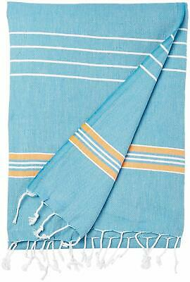 Cacala Pestemal Turkish Bath Towels Striped  Luxury Peshtemal 37x70 Blue //Orange