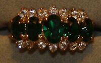 Ladies' 18kt Gold Overlay Emerald Cluster Rings In 9/10