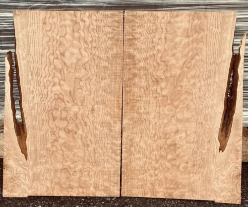 """13"""" overall HEAVY Quilt Figured Maple 2 piece Top 17 x 6.5"""" x 5//16/"""" Quilted"""