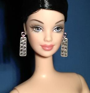 Dreamz CRYSTAL CLEAR Faceted SILVER STUD Earrings Barbie Doll Jewelry