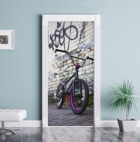 BMX Vélo avant graffitiwand streetart-türaufkleber 200x90cm türtapete türs