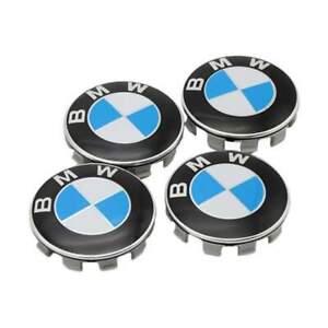 4x-57mm-BMW-bleu-blanc-jantes-couvercle-moyeux-capuchon-roue-chapeaux-enjoliveur