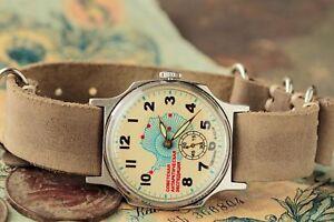 Pobeda-Uhr-034-Antarktis-034-Russische-Sowjetische-UdSSR-Lederriemen-Stil-von-NATO-S