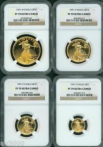 1991-4-COINS-SET-W-P-50-25-10-5-GOLD-EAGLE-NGC-PR70-PROOF-PF70-SCARCE
