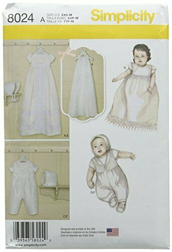 Simplicity 8024A Babies Christening Sets with Bonnets Sewing Pattern Paper