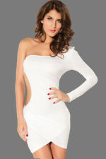 White Bodycon Cocktail Mini Dress One Sleeve Side Cut-Outs 2656